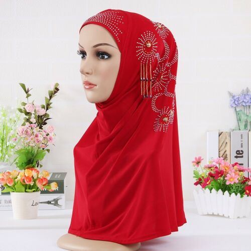 Women/'s hanging beads wrapped scarf soft skull head covering Muslim hijab cap