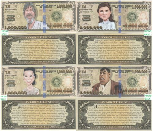 Star Wars Caricature Set of 4 Fake Play Million Dollar Bill Novelty FREE SLEEVES