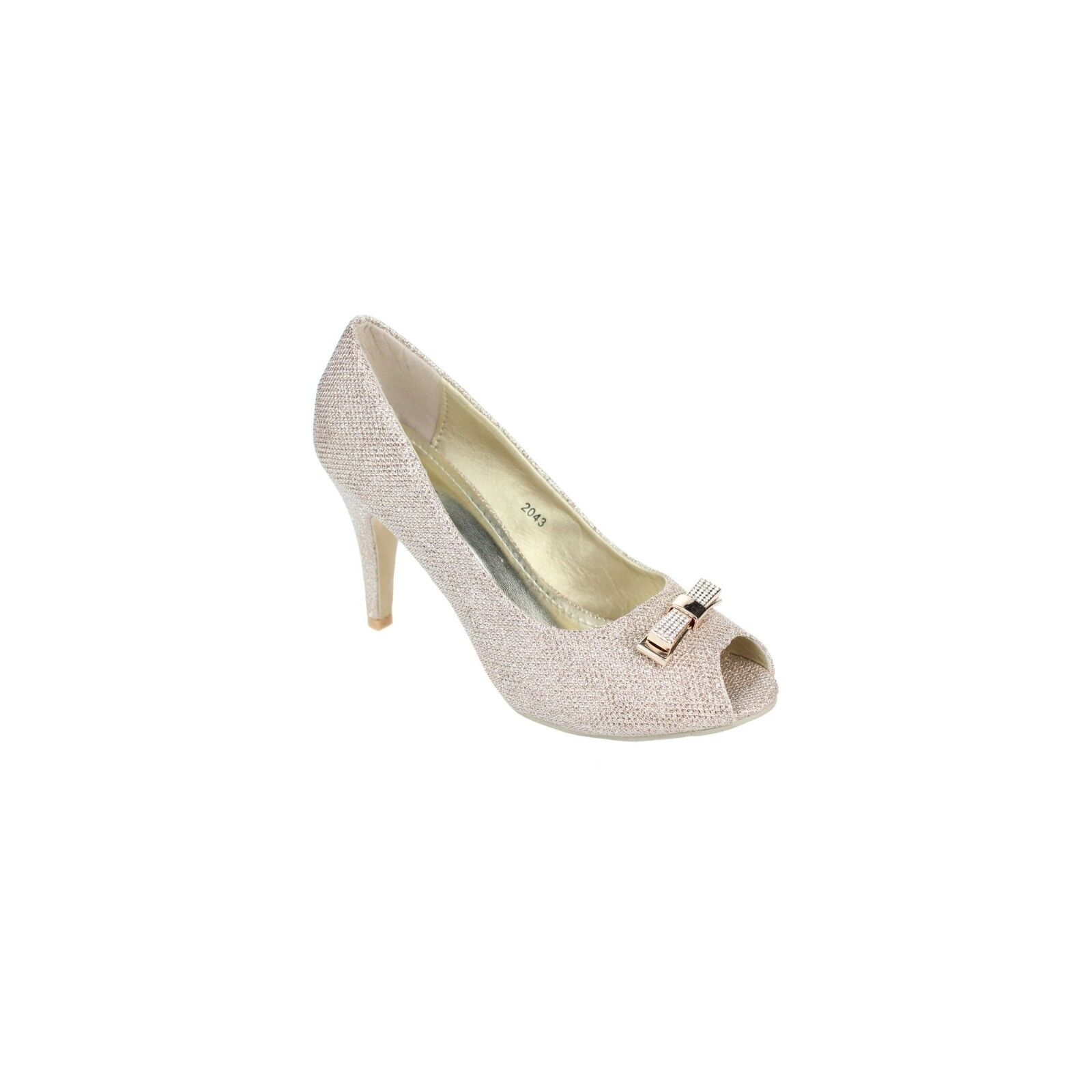 Ladies Shimmer Peep- toe Shoes- Champagne RRP£29.99 UK3 EU36 JS23 99