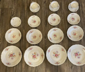 WAWEL-China-Floral-Gold-Trimmed-Set-Made-In-Poland-4-Plates-4-Bowls-Etc