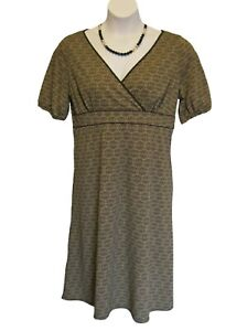 Knit-Surplice-LOFT-Dress-Size-14-XL-Ann-Taylor-Brown-Medallion-Print-Crossover