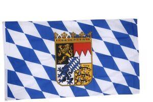 Deutschland Bayern mit Wappen Hissflagge bayerische Fahnen Flaggen 60x90cm