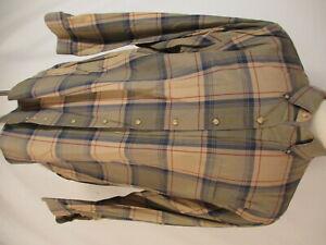 Viyella-Mens-Beige-Plaid-Long-Sleeve-Cotton-Wool-Shirt-XL