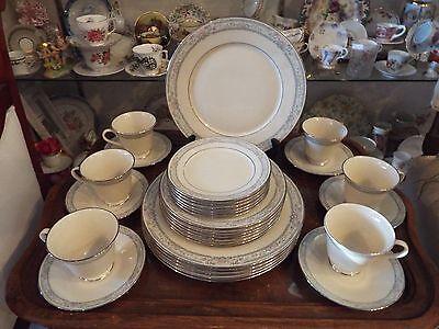ELEGANT LENOX CHINA CHARLESTON DINNER SET FOR SIX FIVE PIECE PLACE SETTINGS (B)
