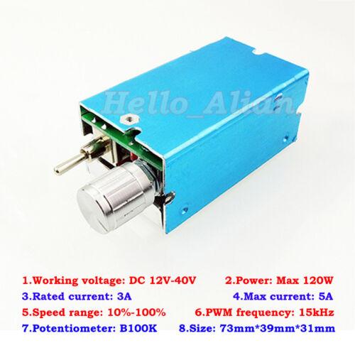 DC 12V 18V 24V 36V 5A PWM DC Motor Speed Regulator Controller Reversible Switch