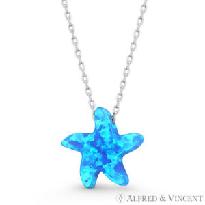 Blue-Lab-Opal-Starfish-Sealife-Animal-Charm-925-Sterling-Silver-Necklace-Pendant