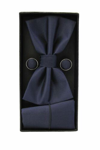 Cufflinks Plain Solid Pre-Tied Bow Tie Mens Bow Tie /& Hanky Pocket Square Set