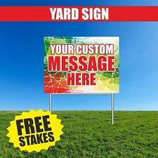Yard Sign CUSTOM Advertising your message metal stake 18 x 24 free shipping