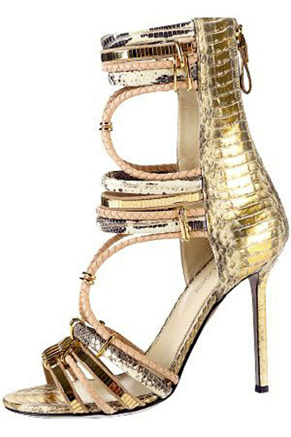 1295 Sergio Rossi oro Python Gladiator Sandal Pump Heel scarpe 37 - 6.5