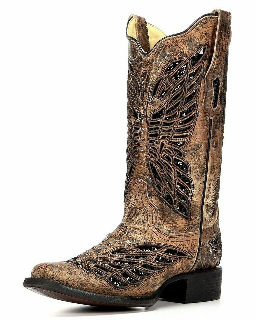 Corral Ladies 11  Square Toe Leather Cowgirl Western Boots Bronze R1226