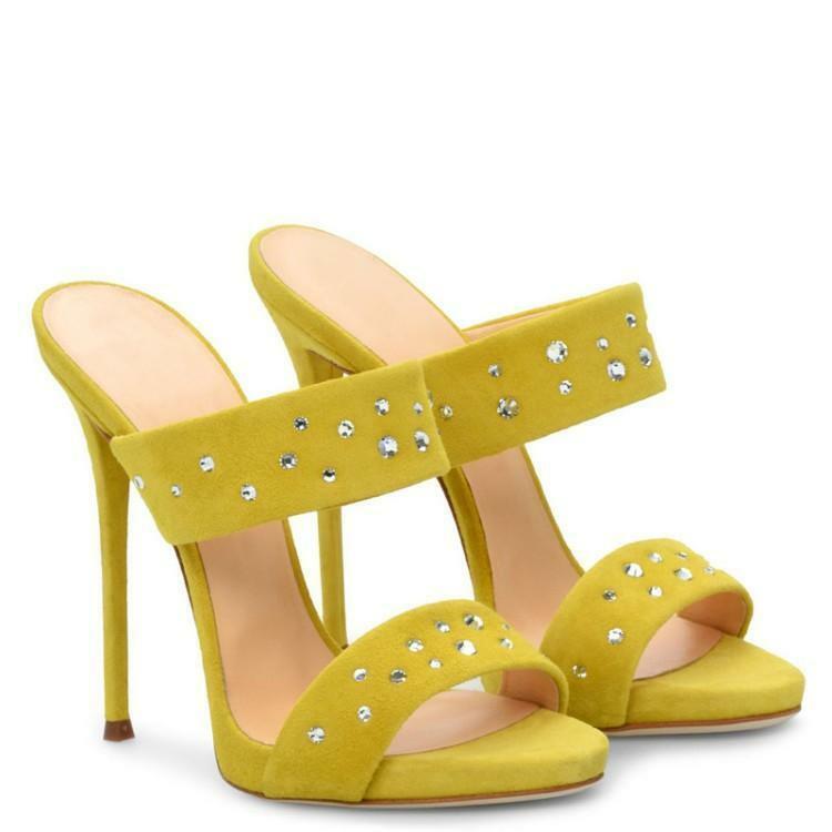 Sandales femme open toes strass talons en daim synthétique pantoufles Taille
