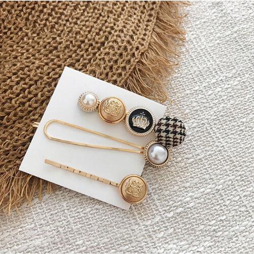 Women Girl Hair Accessories Button Pearl Hair Clips Heart Star-Crystal-Hairpin0c