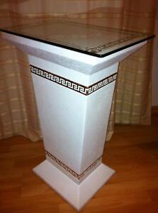 Beistelltisch-Telefontisch-Blumensaeule-Blumenstaender-Glastisch-Versa-Serie
