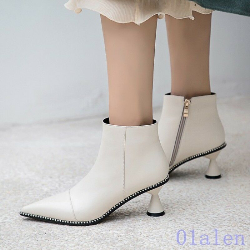 Women's Ankle Boots Kitten Heel Lace Up Pointy Toe Leather Zip Rivet Fashion Hot