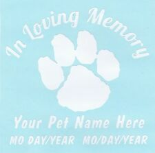 In Loving Memory  *your pet NAME * plain white*  Vinyl  Car,Window or Wall Decal