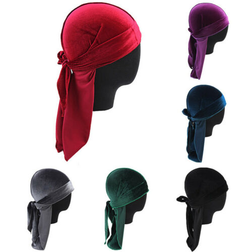 Men Lady Velvet Silk Breathable Bandana Hat Turban Cap Doo Durag Headwear JR15