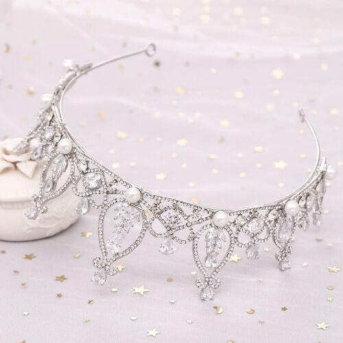 6cm High Elegant CZ Crystal Pearl Wedding Party Pageant Prom Tiara Crown