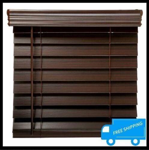 32.5x64 in Espresso Faux Wood Blind Cordless Room Darkening Privacy Window Shade