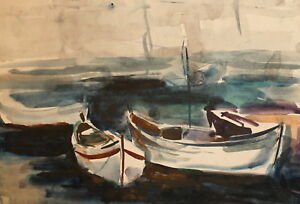 Vintage-impressionist-watercolor-painting-seascape-boats