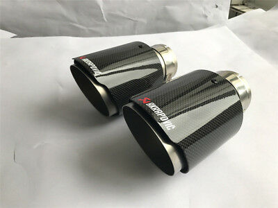 "1 X IN 2.8/"" 70MM OUT 3.5/"" 101MM AKRAPOVIC Exhaust Tip Muffler Pipe Carbon Fiber"