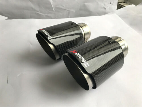 """1 X IN 2.5/"""" 63MM OUT 3.5/"""" 89MM Akrapovic Glossy Carbon Fiber Pipe Exhaust Tip"""