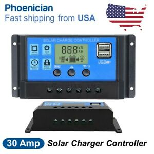 30A-12-24V-Dual-USB-Solar-Panel-Battery-Charge-Controller-LCD-Regulator-Auto-US