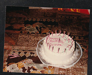 Vintage Photograph Beautiful Birthday Cake With Candles Setting On