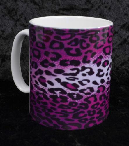 PURPLE LEOPARD PRINT COFFEE MUG CUP ROCKABILLY GOTH PUNK PSYCHOBILLY HORROR GIFT
