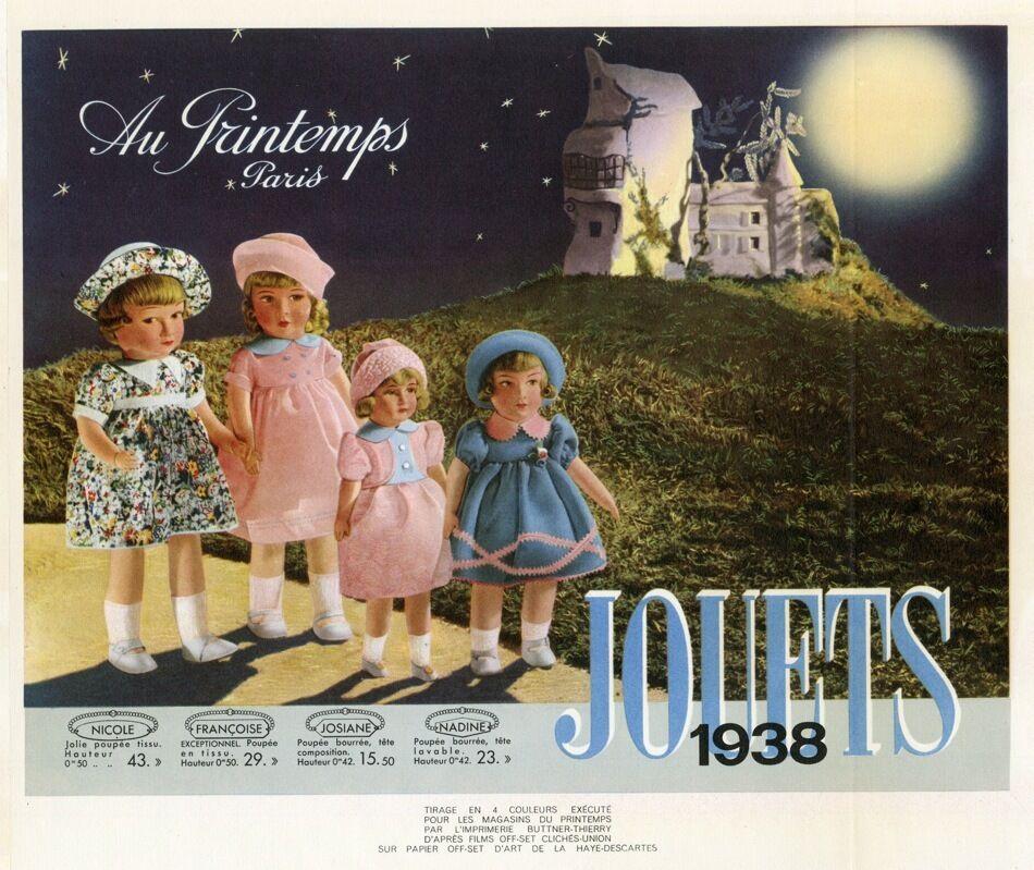 JOUETS AU PRINTEMPS 1938  Tirage original entoilé pour annonceur 33x28cm