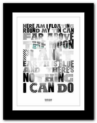 DAVID BOWIE Space Oddity ❤ song lyrics typography poster art print - A1 A2 A3