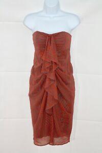 TED-BAKER-Burnt-Orange-Silk-Fragmented-Stripe-Strapless-Dress-Uk-10-rrp-149