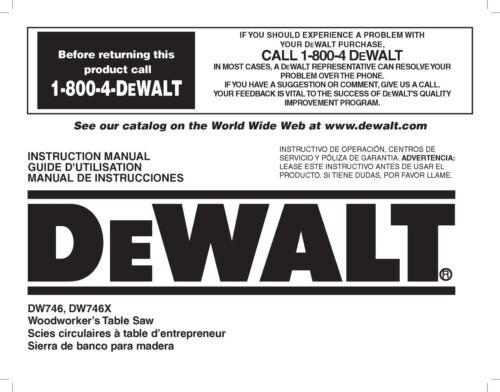 Dewalt Table Saw Instruction Manual Model #DW746-DW746X