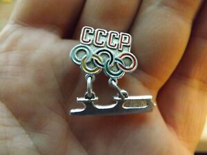 Vintage-Soviet-Pin-Badge-Olympics-Winter-Olympic-Games-National-team-USSR