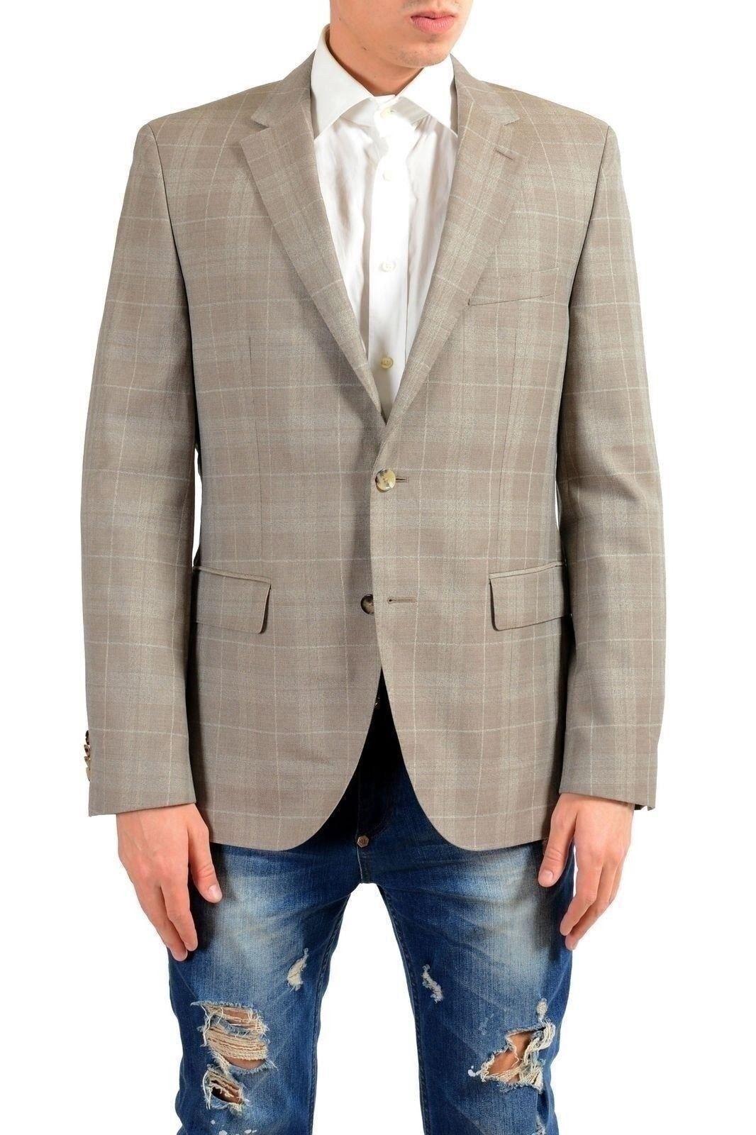 Hugo Boss  Jeen2  Men's 100% Wool Plaid Blazer Sport Coat US 40R IT 50R
