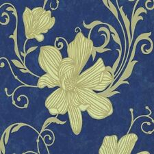 Carat 13344 40 Floral Blue Gold Glitter Damask Wallpaper Luxury
