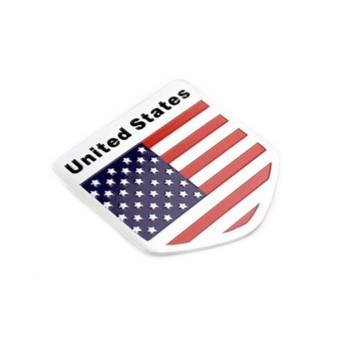 CAR AUTO SUV DOOR FENDER TAILGATE METAL AMERICAN FLAG SHIELD STYLE STICKER`BADGE