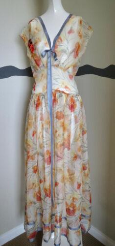 Vintage 30/40s Dress Gown Silk Chiffon Flower Prin