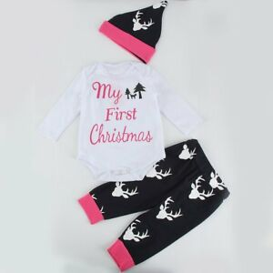 cefd12674 Cute Newborn Baby Boy Girls First Christmas Clothes Romper Pants Hat ...