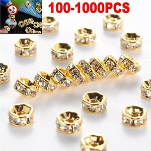 1000PC Golden Austira Clear Crystal Rhinestone Rondelle Spacer Beads DIY 6mm