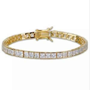 14k-Yellow-Gold-Over-925-Sterling-Silver-Square-Diamond-Tennis-Bracelet