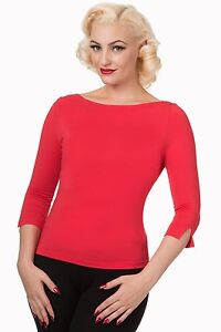 50s Top Rockabilly Banned Love' Boat maniche 4 'Modern Neck rosso Retro donna 3 da fTwxqTUR
