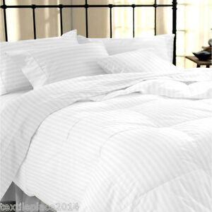 400TC-Duvet-Cover-amp-Pillowcase-100-Egyptian-Cotton-White-Satin-Stripe-Bedding