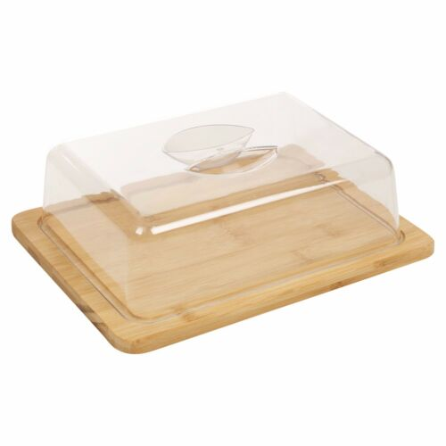 Bamboo Cheese Board /& Acrylic Cover Serving Platter Tray Cake Muffin Storage