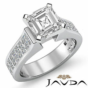 Asscher-Diamante-Invisible-Set-Anillo-de-Compromiso-GIA-F-VS2-14k-Oro-Blanco