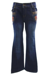 JUST CAVALLI FLARE DARK WASH JEANS FLORAL ORNAMENTS Size 30 x 28 MADE IN ITALY