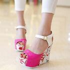 2016 Fashion Womens High Heel Open Toe Buckle Platform Wedge Flower Shoes Size 9