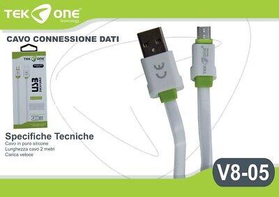 Cavo Dati Usb Tekone V8-05 Connettore Microusb Micro Usb 2mt Smartphone Hsb Alta Sicurezza