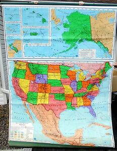 Nystrom World Map.Vintage 1967 A J Nystrom School Pull Down Map Us Simplified