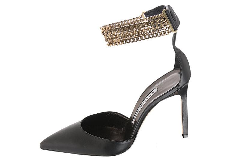 1055 New Manolo Blahnik M EVOLU 105 Black Chain BB Heels Pumps shoes 36 40 40.5