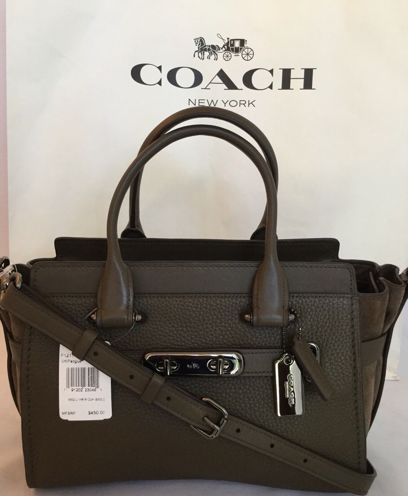 17ae7f1ec0d2 Coach 12117 Swagger 27 Mixed Leather Dk fatigue Handbag Satchel ...